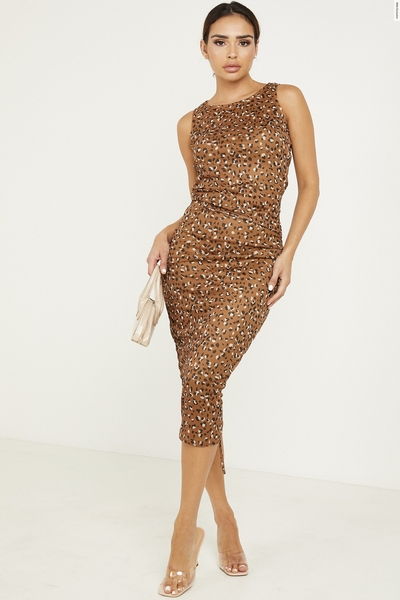 Brown Leopard Print Ruched Dress